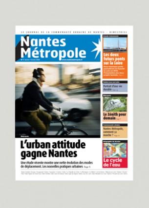Conception graphique Photo de une : Mat Jacob / Tendance floue Éditeur : Nantes Métropole Agence : Double Mixte Volume : 32 pages Format : 220 x 275 mm Périodicité : bimestrielle Novembre 2005