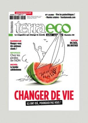 Conception graphique et direction artistique Photo de une : Quentin Vijoux Éditeur : Terra economica SAS Volume : 84 pages Format : 200 x 280 mm Périodicité : mensuelle En charge de la production du magazine Terra eco depuis Mai 2006.