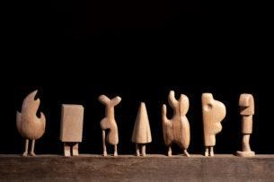 Géométrie Série en bois de chêne Hauteur : 25 cm
